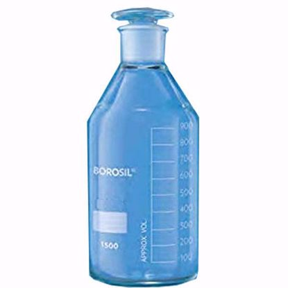 Plain Narrow Mouth Reagent Bottle With Inter-changeable Flat Head Stopper - 1000 ml