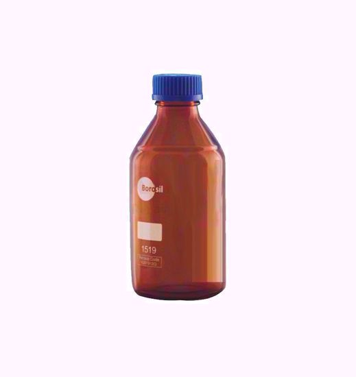 Amber Reagent Bottle with Screw Cap and Pouring Ring - 500 ml
